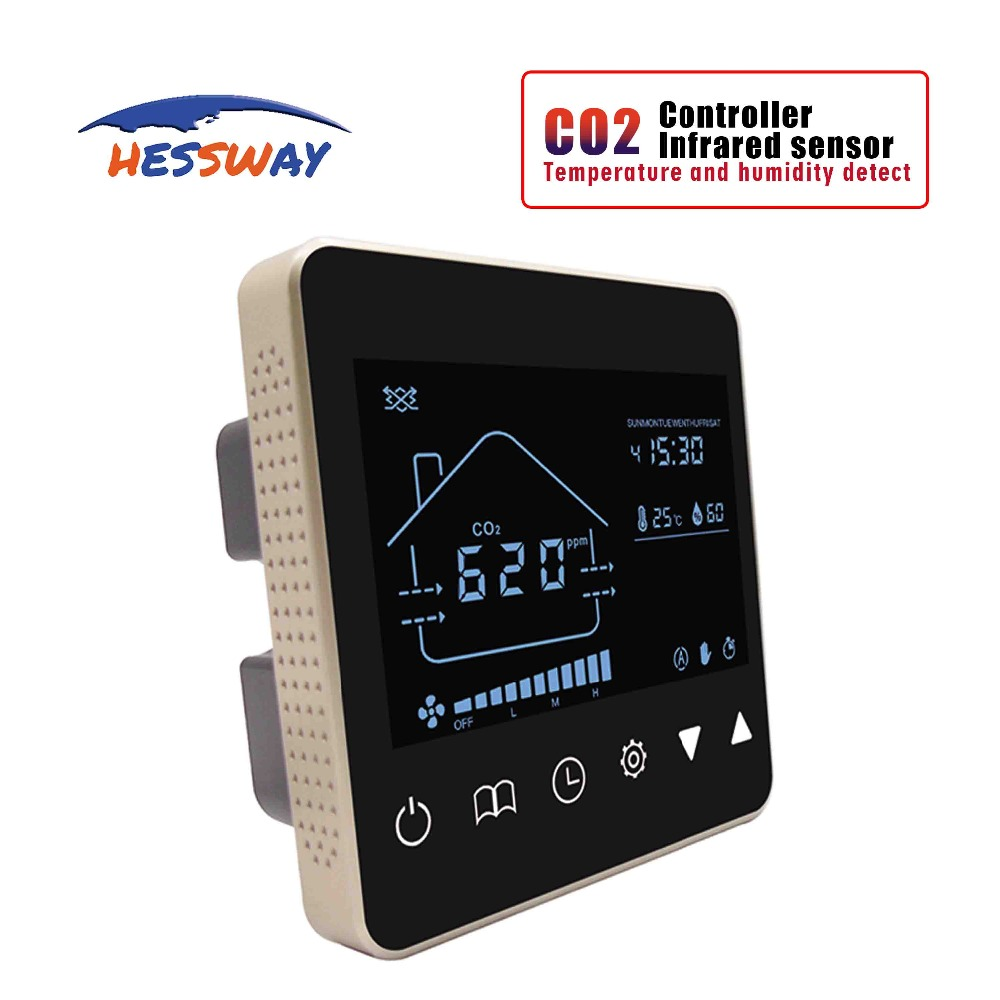 Sistema de ar Nather CO2 NDIR sensor de monitor de qualidade do ar detector de gás regulador de Reduzir A concentração para temp & Umidade