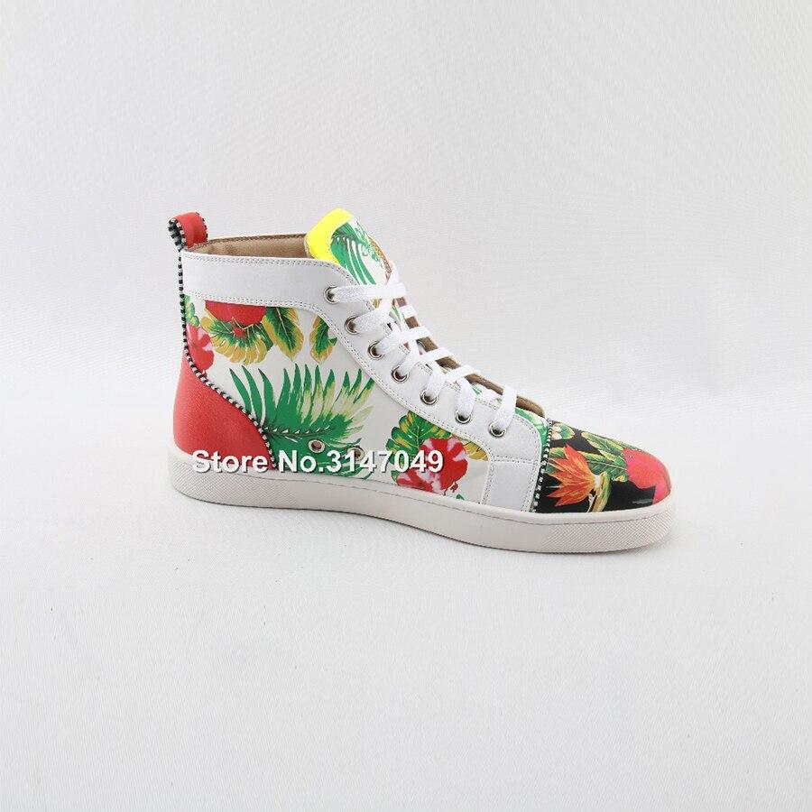 OKHOTCN/белая мужская повседневная обувь на шнуровке высокая обувь с цветочным принтом модные уличные мужские кроссовки с круглым носком сез... - 4