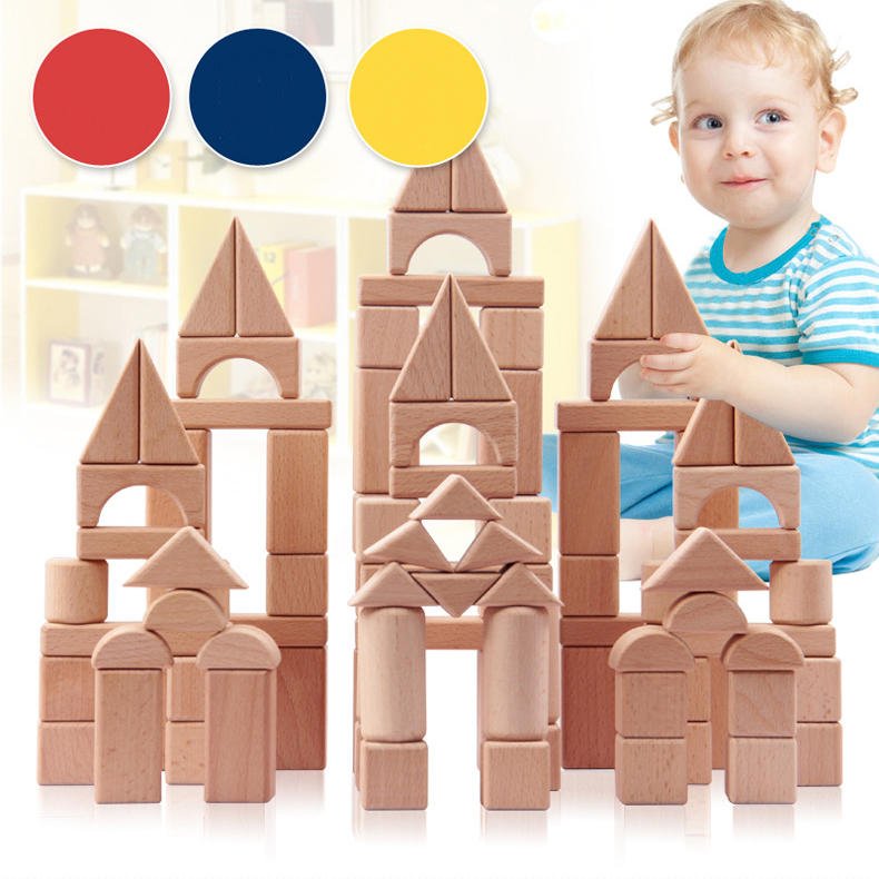 ФОТО Let's make Montessori Toys 100PCS Wood Block No Painting Non-toxic Learning Education Baby Child Building Blocks Teether Toys