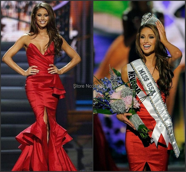 Miss USA 2015 Winner Nia Sanchez Red Pageant Dresses by Michael ...