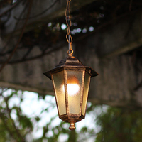 Vintage Hexagonal outdoor aluminum Pendant Light waterproof balcony Cinnamon/black lamp E27 glass lampshade