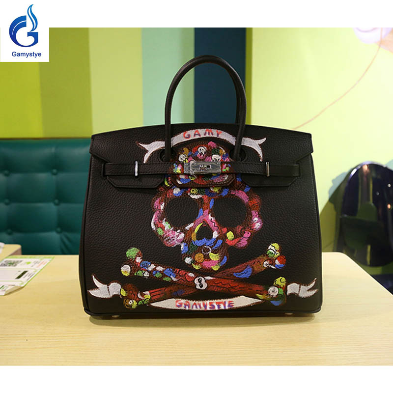 Graffiti custom bags women's bags female Leather Handbag lady totes Messenger Bags Hand Painted GRAFFITI ROCK SKULL bags Design rock skull graffiti custom bags handbags women luxury bags hand painted painting graffiti totes female blose women leather bags