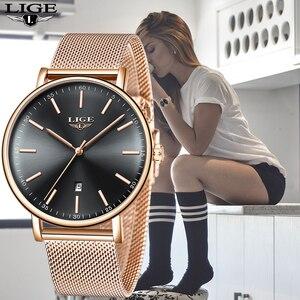 Image 2 - Lige womens watches 최고 브랜드 럭셔리 방수 시계 패션 숙녀 스테인레스 스틸 울트라 얇은 캐주얼 손목 시계 석영 시계