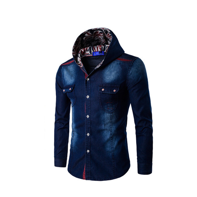 f0e907374f8 Fashion Hooded Denim Shirts Slim Mens Jeans Shirts Blouse Button Jean  Casual Men New SzM-