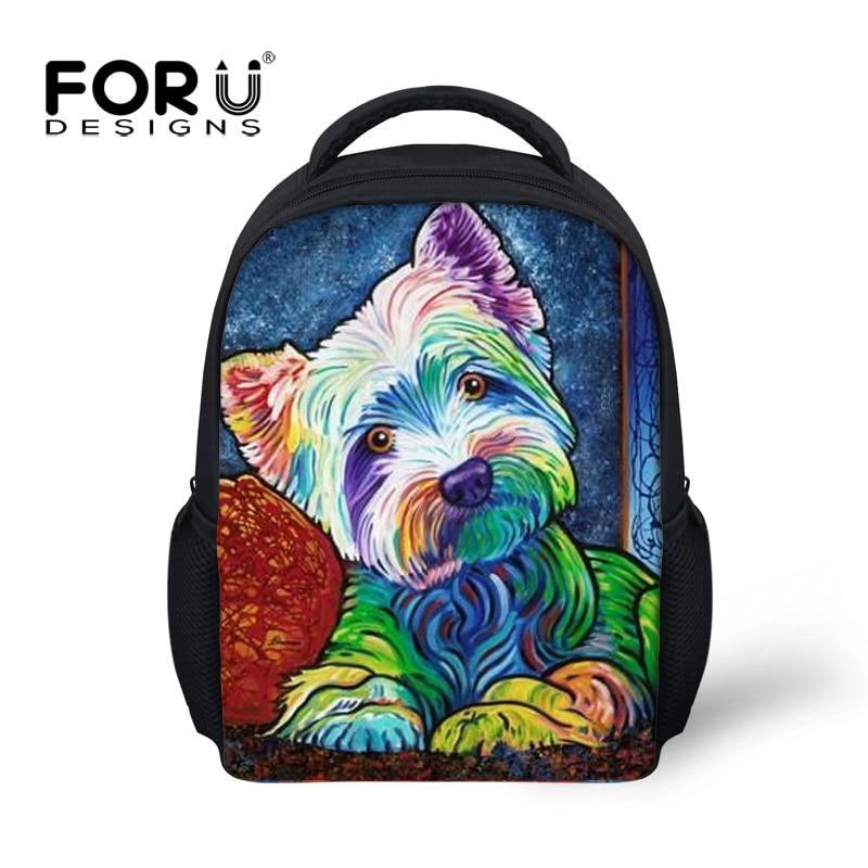FORUDESIGNS Children school bags dog printing kindergarten backpack for girls Yorkshire Terrier schoolbag kids mochila escolar