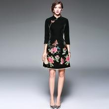 Зимнее китайское традиционное вельветовое платье Ципао с вышивкой бабочки