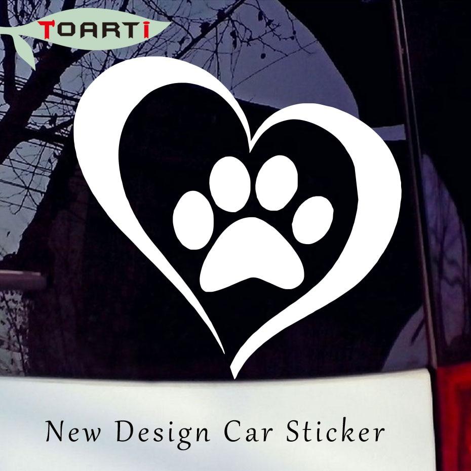 Gyvūnų mylėtojas Meilės letena Širdies vinilo automobilio lipduko lipdukas Šuns langas Aukštos kokybės automobilio stiliaus lipduko dekoravimo aksesuarai