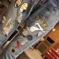 5xl плюс большой размер джинсы трусики женщины весна осень 2016 бермуды feminina мультфильм печати отверстие свободные джинсы брюки женские A1701
