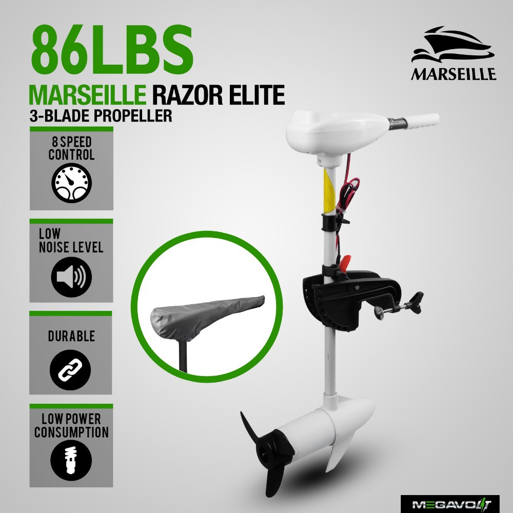 New 86LBS Electric Trolling Motor Inflatable Boat Outboard Engine Fishing White
