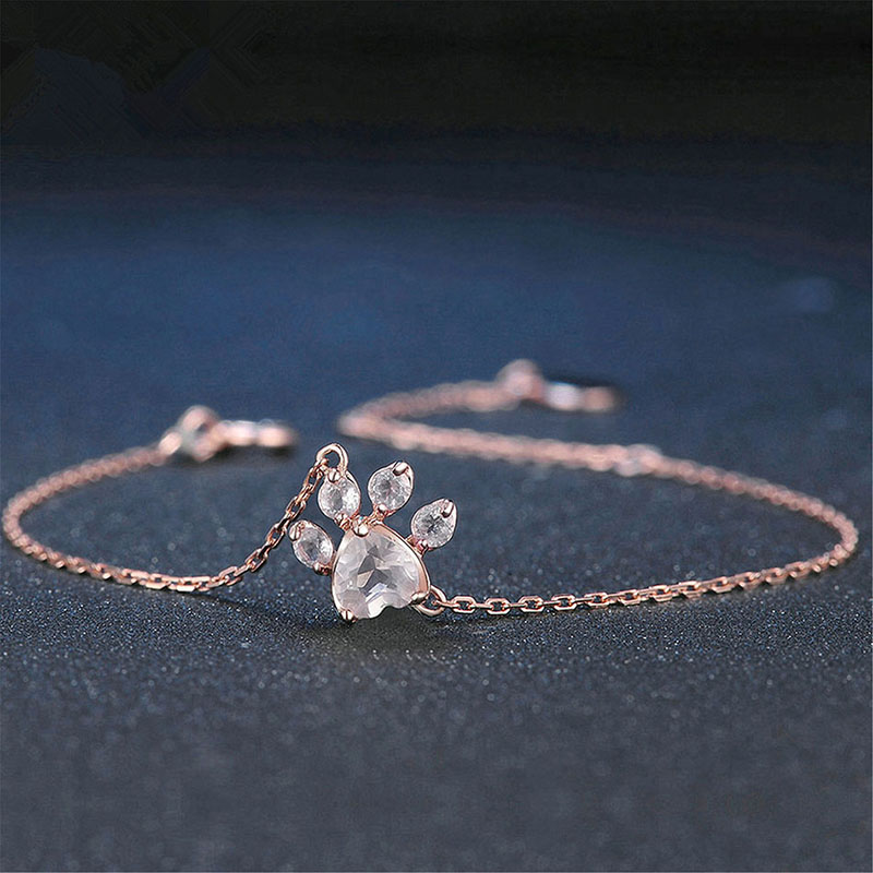 New Fashoin <font><b>Bracelet</b></font> Jewelry Cat <font><b>Dog</b></font> <font><b>Paw</b></font> Claw <font><b>Bracelet</b></font> Creative Lovely Footprint <font><b>Bracelets</b></font> for Women Shiny Pink Zircon Jewelry image