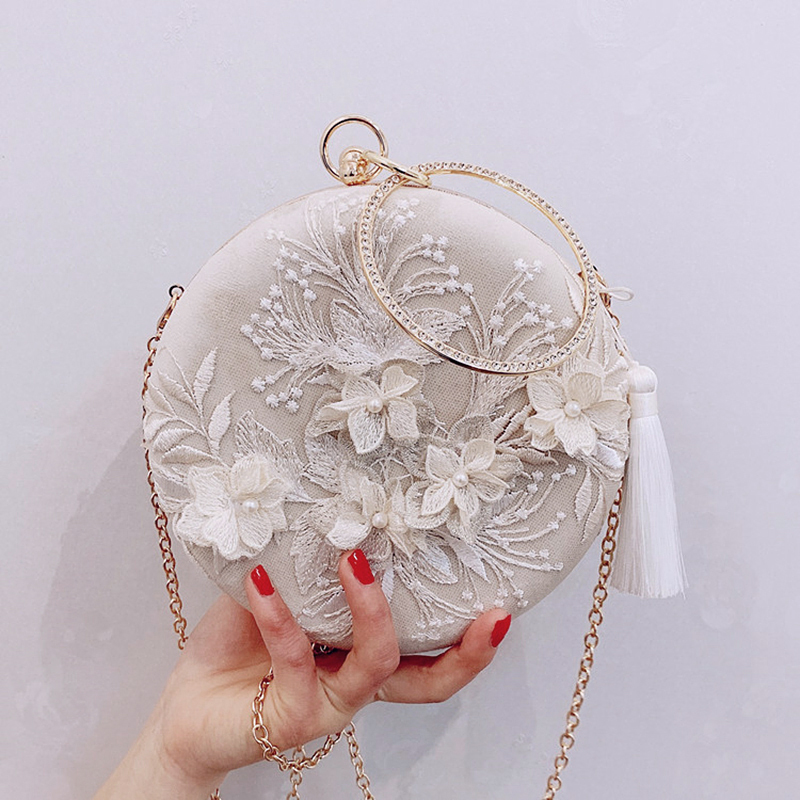 Meloke Female Handbag Clutches Wedding-Purse Evening-Bags Embroidery Tassel Women Bag