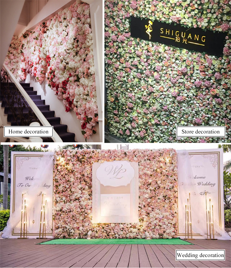 JAROWN Artificial Flower Row Simulation Rose Peony Hydrangea Background Wall Fake Flowers Wedding Feast Arrangement Props Flores (20)