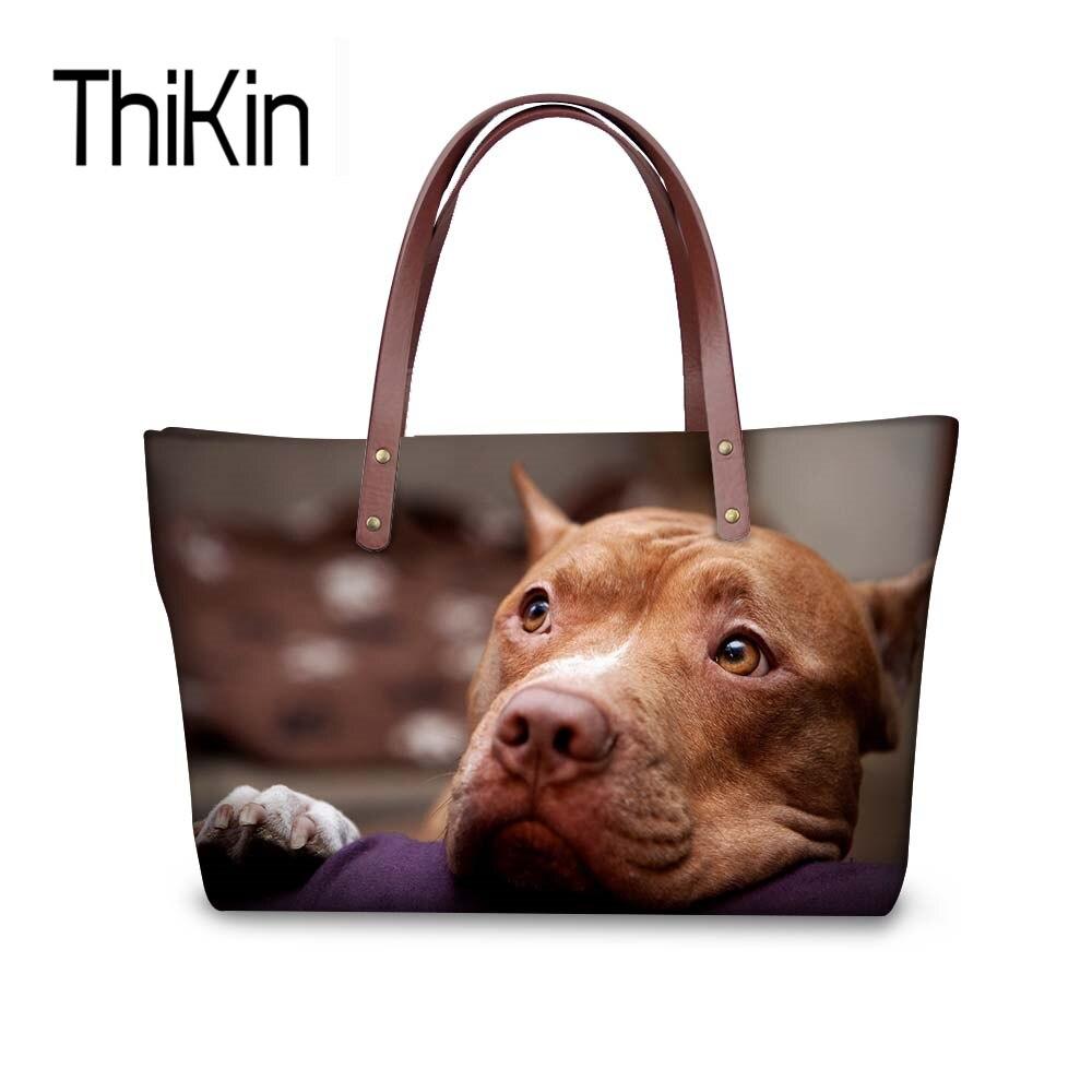 ThiKin Мода Tote Сумки для Для женщин 3D питбультерьер большой Ёмкость сумка женская Сумки Повседневное пляжный топ ручка сумки