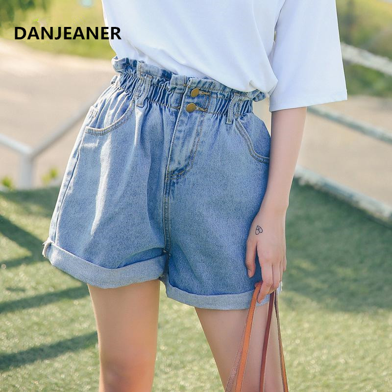 Danjeaner High Waist Ruffles Ripped Jeans Shorts For Women Vintage Cuffs Hem Elastic Waist Denim Shorts Casual Wide Leg Shorts