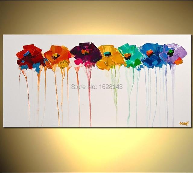 multi color blanco hecho a mano de flores pinturas al leo sobre lienzo de pared decorativos - Cuadros Originales Hechos A Mano