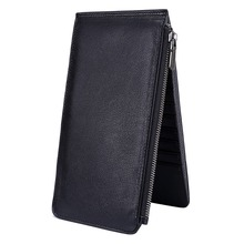 2017 New genuine leather women 20 cards holder leather zipper ladies wallet bifold card case phone holder soft high quality