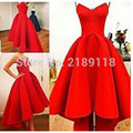 New style Sweetheart A-Line Puffy Satin Red Gorgeous Dress  Hi Lo Summer Myriam Fares Party Celebrity Dresses Hot sale 2016