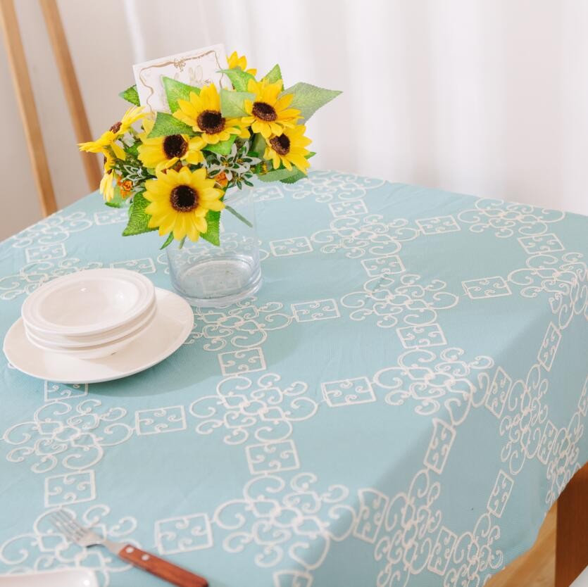 d6503a533666 Pastoral Blue Embroidered Polyester Cotton Table Cloth Square Party Banquet Outdoor  TableCloth Nappe Table Cover Overlay
