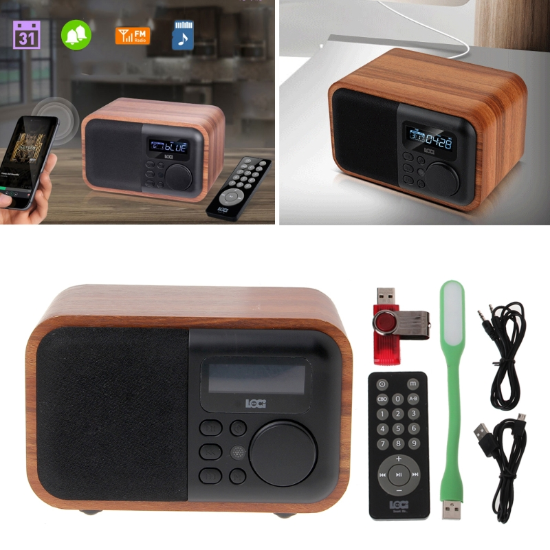 OOTDTY Alarm Clock Bluetooth Speaker AUX USB TF FM Radio Support Multifunctional Time Display with USB Light Remote Control wooden multi functional fm radio bluetooth speaker alarm clock mp3 player support micro sd tf card usb remote control