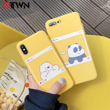 Ottwn Phone Case For iphone X XS Max XR 5 5S SE 6 6S 7 8 Plus Soft TPU Back Cover Kawaii Bear Panda Pattern Yellow Cases Cover цена и фото