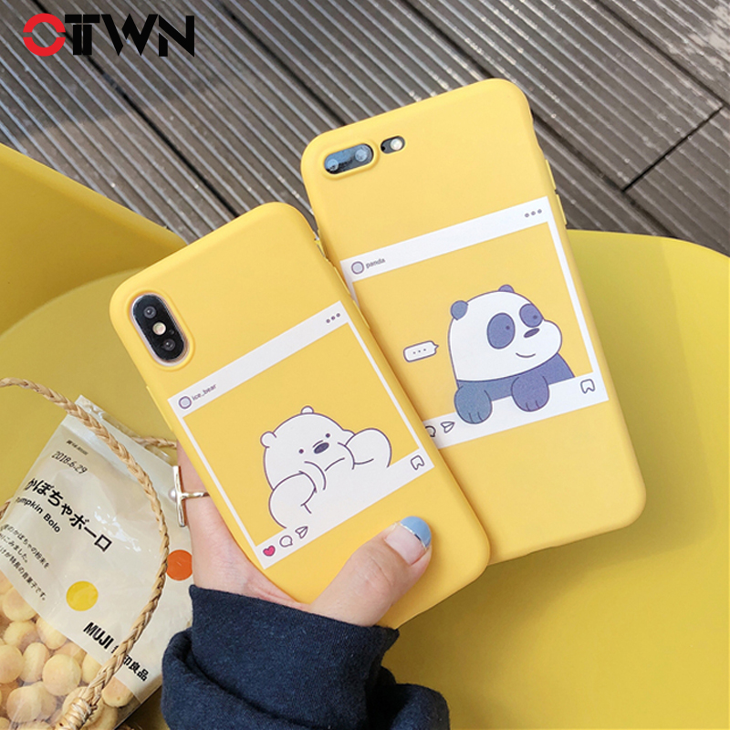 Ottwn <font><b>Phone</b></font> <font><b>Case</b></font> For <font><b>iphone</b></font> 11 Pro Max X XS Max XR 5 5S SE 6 6S <font><b>7</b></font> 8 Plus Soft TPU <font><b>Kawaii</b></font> Bear Panda Pattern Yellow <font><b>Cases</b></font> Cover image