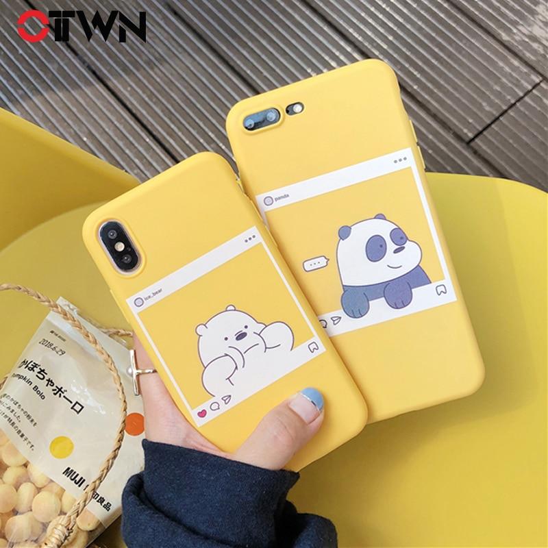 Ottwn чехол для iPhone X XS Max XR 5 5S SE 6 6S 7 8 Plus мягкая ТПУ задняя крышка Kawaii Медведь Панда узор желтый чехол