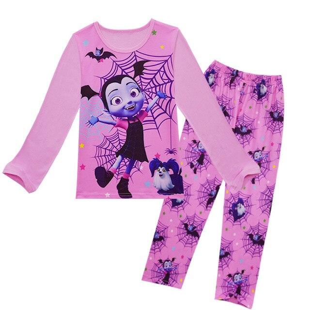 ab1f51860 Children Pajamas Set Junior Vampirina the Girl Anime Print T-shirt Tops + Pants  Kids Homewear Set Girl Cute Clothing ZXT1061