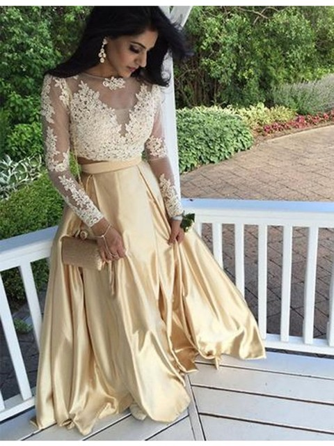 Modern Bateau Two Piece Long Prom Dresses With Long Sleeves