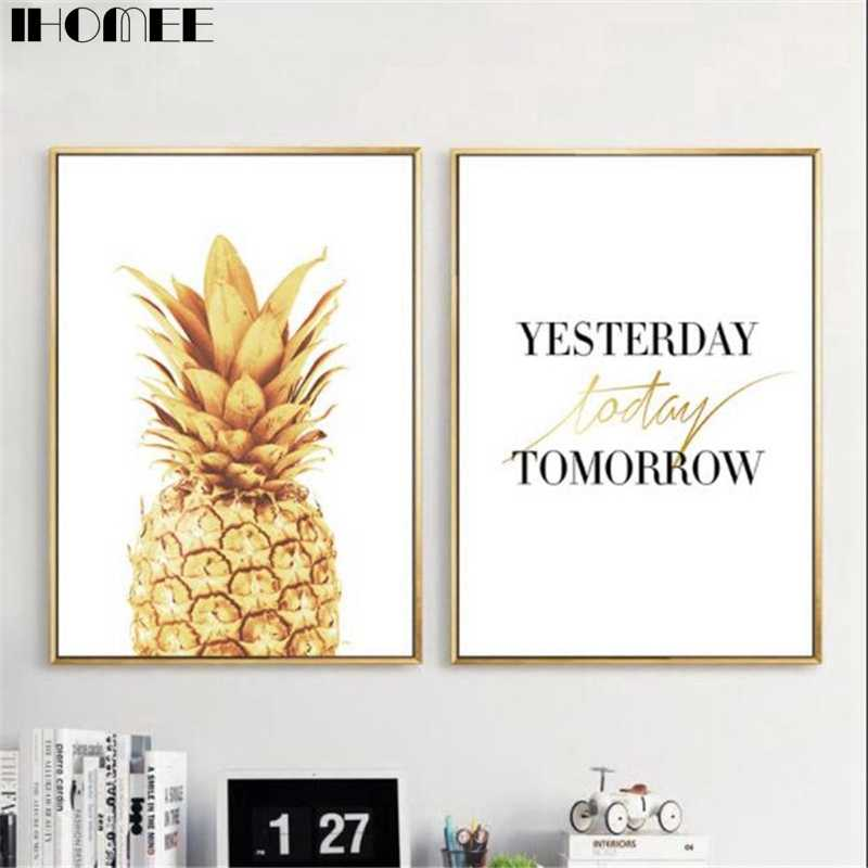 IHOMEE Canvas Wall Art Painting Gold Pineapple Posters And Print Pictures For Living Room Bedroom Home Wall Decor Drop Shipping