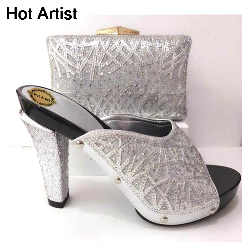 Hot Artist Latest Italian Party Shoes And Bags To Match Set Nigerian Rhinestone Ladies Pumps Slipper Shoes And Bag Set TX-061 hot artist african style slipper shoes and matching bag set fashion rhinestone ladies pumps shoes and bag set for party me7708