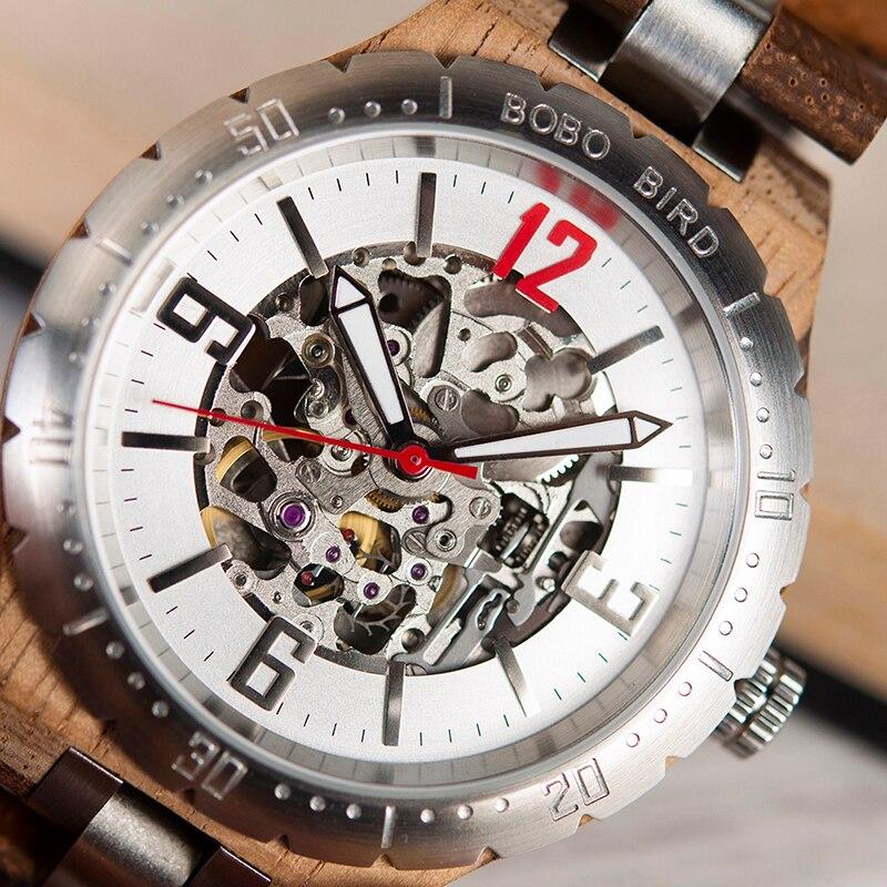 Bobo pássaro mecânico relógios de pulso masculino relógio de metal de madeira à prova dwaterproof água relógio de luxo relogio masculino C uQ29 - 2