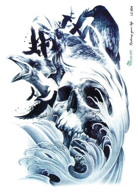 Czarny Kruk Duży Tatuaż Naklejki Halloween Horror Skull