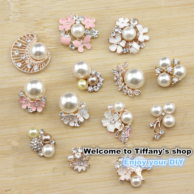 5pcs lot DIY hairbow material metal alloy imitate pearl rhinestone flatback  button wedding party dress craft Sewing accessories 04436572e372