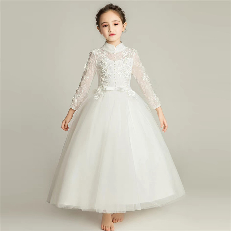 2018 Autumn Winter New Children Girls Pure White Color Birthday Wedding Party Princess Lace Dress Kids Teens Piano Pageant Dress