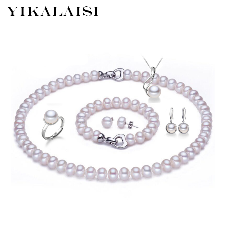 YIKALAISI  925 sterling silver jewelry 100% natural Freshwater Pearl necklace jewelry sets pearl for women weddings gift