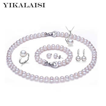 YIKALAISI  925 sterling silver jewelry 100% natural Freshwater Pearl necklace jewelry sets pearl for women weddings gift - DISCOUNT ITEM  40% OFF All Category