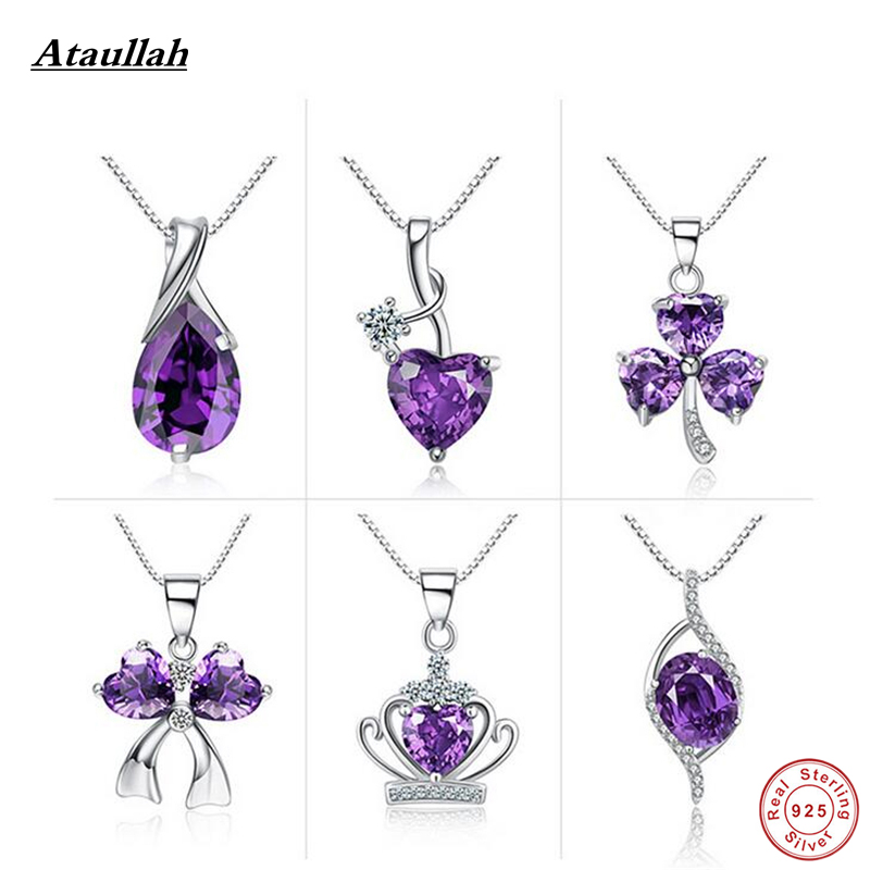Real 925 Silver Natural Crystal Crown Heart Link Chains Women Pendants Necklaces Sterling-Silver-Jewelry Brand Ataullah SSN010