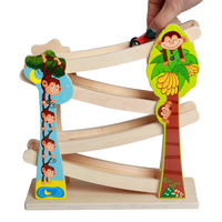 Baby Wooden Ladder Gliding Race Trace Toys Colorful Wooden Slot Track Car Glider Toys Learning Educational Toys Gift