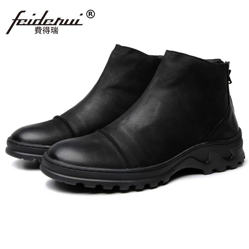 a269fb570440a New Vintage Man High-Top Platform Shoes Genuine Leather Round Toe Footwear  Handmade Men's Riding Ankle Boots JS242