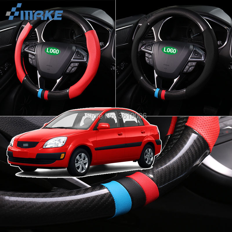 smRKE For Kia Rio Steering Wheel Cover Anti-Slip Carbon Fiber Top PVC Leather Sport Style