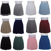 XS 3XL Harajuku JK Summer Skirts 2017 Women High Waist Pleated Skirt Wind Cosplay Macaron Solid