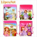 12 pcs/lot Sofia Children Drawstring Bags School Bags For Girls Boys Print Character School Backpack Teenagers Mochila
