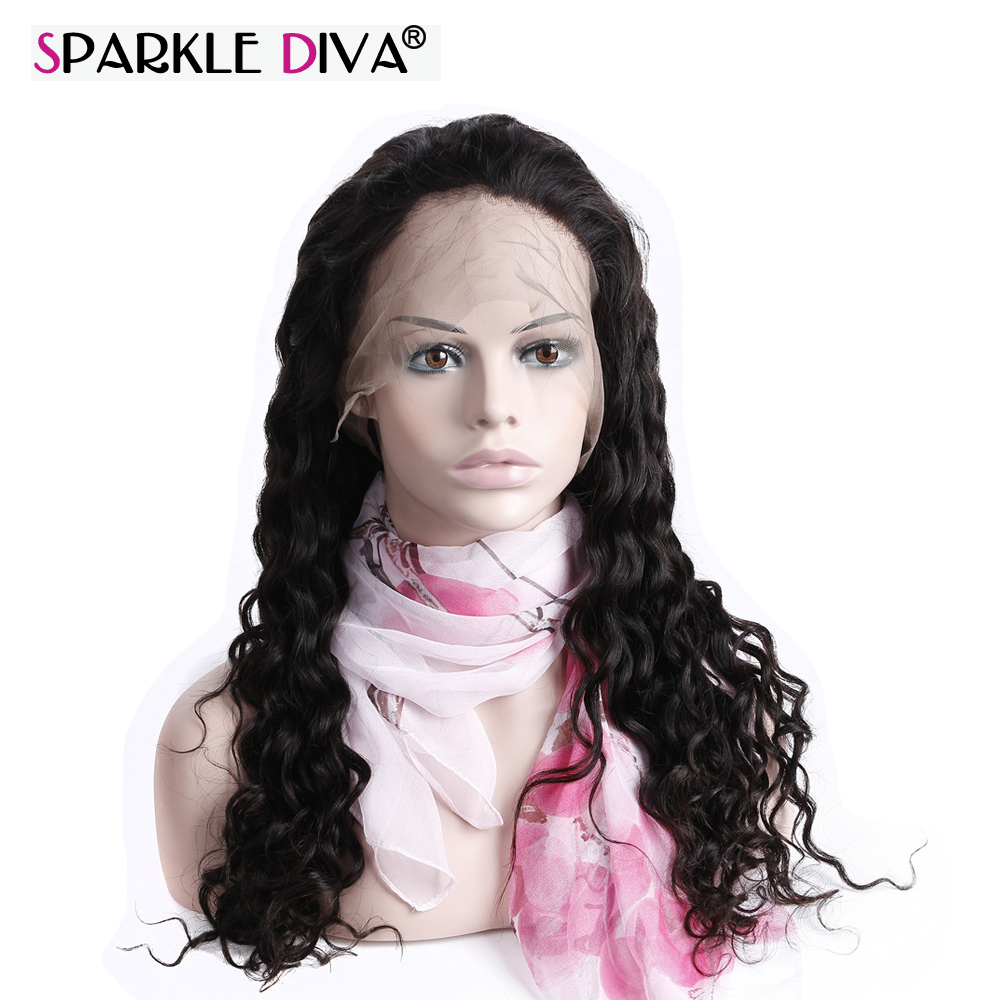 Reliable Sparkle Diva Mongolian Deep Wave Remy Human Hair 13*4 Lace Front Wigs Cuticle Aligned Pre Plucked With Baby Hair Natural Color Human Hair Lace Wigs