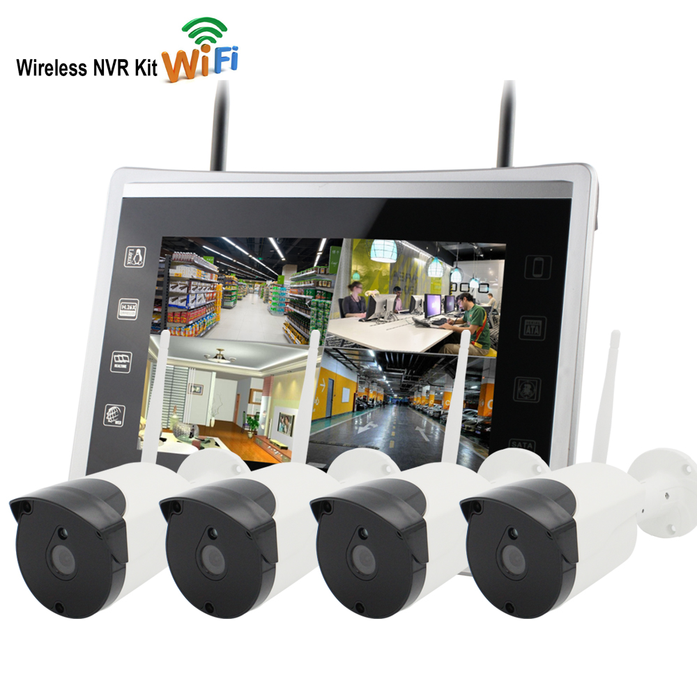 Yobang Security 12inch Monitor 4CH 960P WIFI NVR Kit 1.3MP CCTV Security System IP Camera P2P Outdoor Home CCTV Surveillance Kit