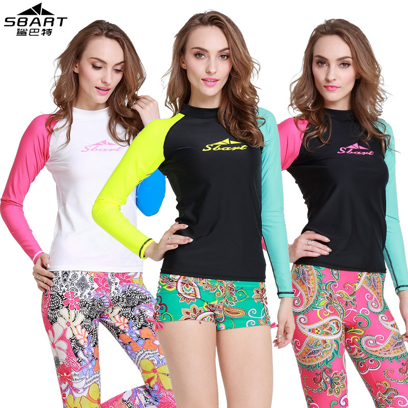 a4ed7b7c7d Sbart rash guard surfing suits woman swimwear uv protection rash guards surf  clothes long sleeve swimwear top surf wear