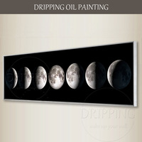 Professional Artist Hand Painted Super Length Planet Oil Painting On Canvas Hand Painted Modern Moon Oil