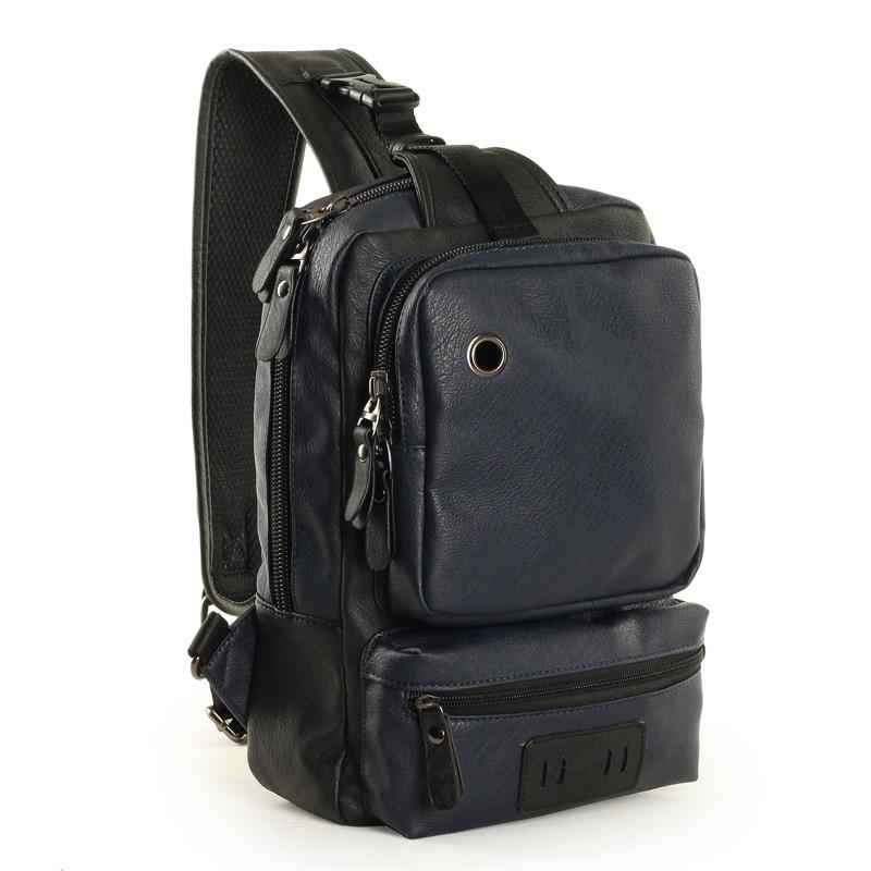New Backpack Men Europe Design Student Men's Travel Bag Leather Backpack One Shoulder Chest Bag Male Triangle Back Pack Rugtas