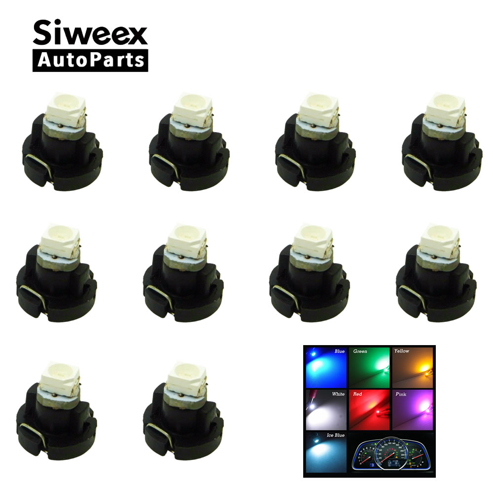 10x T3 3528 Smd Car Cluster Gauges Dashboard Instruments Panel Light Neo Wedge Bulbs Blue White Iceblue Red Green Yellow Pink