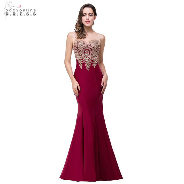 Real Photos 2017 Mermaid Sheer Neck Burgundy Satin Cheap Long Evening Dresses Robe De Soiree Longue Formal Evening Gowns