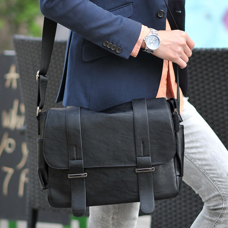 Brand Design Top Pu Leather Men Bag Casual Business